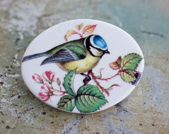 Blue Tit Lapel Pin - Porcelain Oval Brooch - Small Passerine Bird