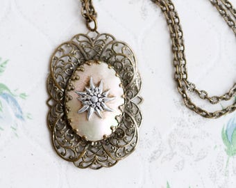 Edelweiss Necklace - Antique Alpine Flower Filigree Pendant on Chain