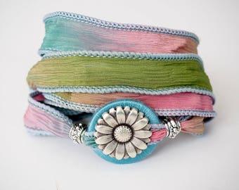 Pastel Daisy, Whirly Wrap, Wrap Bracelet, Silk Ribbon, spring colors, silk wrap, silk garden wrap, Neroli flower