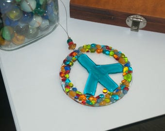 Turquoise Peace Glass Sign