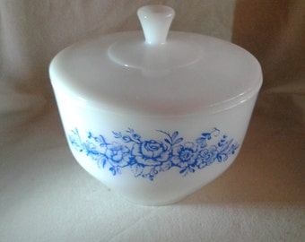 Vintage Federal Glass Blue Flower Milk Glass Mixing Serving Bowl