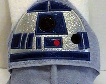 Silver Robot (R2 Robot Star Wars)  Hooded Towel