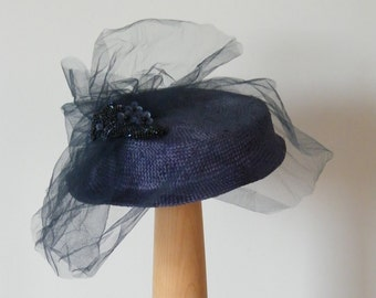mother of the bride / Kate Middleton navy summer hat / Ascot hat / wedding cocktail hat / occasion hat Israel