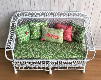 Miniature Bench/Couch (Bar Harbor) With Seat Cushion And 5 Tufted Throw Pillows - In Pretty Greens And Pinks