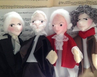 Musicians Hand Puppet Set for Children - Composer Puppets - Music Puppets - Titeres - Beethoven - Bach - Mozart - Tchaikovsky