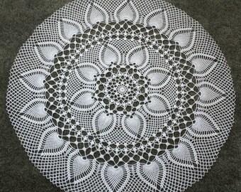 "New 36"" handmade crochet large doily,tablecloth, center piece."