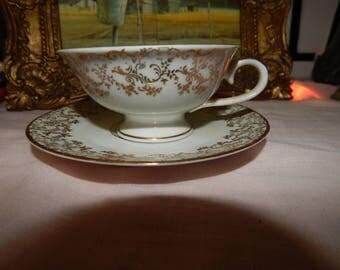 Antique German Bayreuth Marked Tea Cup & Sauce