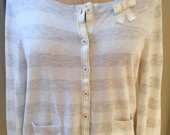 SPRING CLEANING SALE Stripe Grey and Creme Cardigan Sweater with Bow Accent by Laurie B.