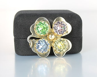 Rhinestone Clover Pendant, Four Leaf Clover Pastel colors Luck of the Irish vintage 1960s jewelry