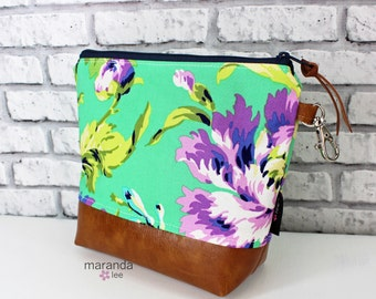 AVA Medium Clutch -Bliss Purple  with PU Leather  READy to SHIP  Cosmetic Diaper bag Travel Make Up Zipper Pouch