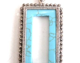 Vintage Faux Turquoise Pendant with Marcosites in Sterling Silver