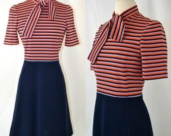 1960s Orange, Gray, Navy Blue Stripe Wool Dress with Navy Blue Skirt by Kimberly, 26 1/2 inch Waist