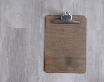 Vintage Faux Wood Letter Clipboard - repurposed display, photo display