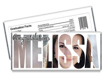 We print. Set of 12 - Class of 2017 Personalized Photo Cutout Graduation Candy Bar Wrappers