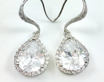 Cubic Zirconia Drop Earrings Clear