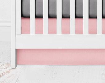 Dusty Peach Straight Crib Skirt - Peach Crib Skirt - Peach Crib Bedding - Blush Crib Skirt - Blush Crib Bedding - Pale Pink Crib Skirt