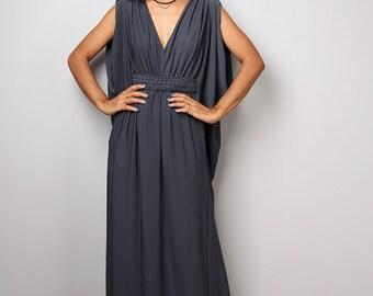 Grey dress, maxi dress, empire dress, long grey dress, sleeveless dress, tube dress, navy grey dress : Funky Elegant Collection no 40