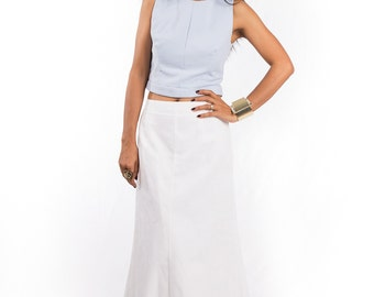 Maxi Skirt, White skirt, long white skirt, floor length skirt, white maxi skirt : Feel Good Collection No.4