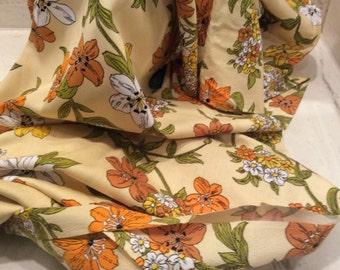 Vintage MOD Vibrant Creamy Yellow Orange Green Floral Lily Print Fabric, Vintage Textiles, Mid Century Print Fabric, Seventies 1970s  Fabric