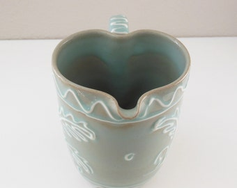 Heart Shape Pitcher ENGLAND Pottery Pitcher Earthenware Hallmark Celadon Jug 1 Quart Water Carafe English Clay pottery Pitcher Water Jug