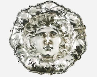 Antique Whiting Manufacturing Co. Sterling Silver Art Nouveau Bowl with Bacchus Face Motif