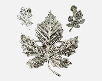 Vintage Sterling Silver and Marcasite Maple Leaf Brooch and Earrings Demi Parure