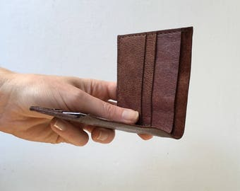 Leather Billfold Wallet - Repurposed Mahogony Brown Leather