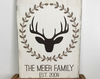 Personalized Family sign with deer - rustic - distressed - Deer with wreath, family name and est date - you pick colors