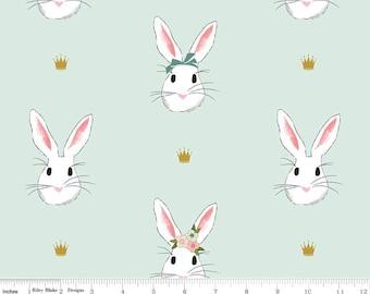 Wonderland 2 Double GAUZE - Main Mint Bunnies by Melissa Mortenson from Riley Blake