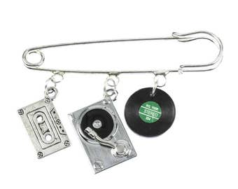 Music Brooch Safety Pin Pin DJ turntable cassette Record 3-Set silver plated