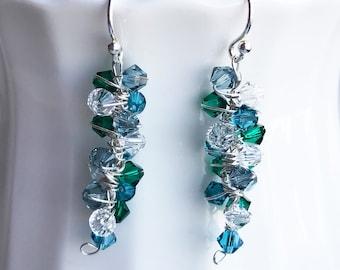 Blue Green Silver Dangle Earrings