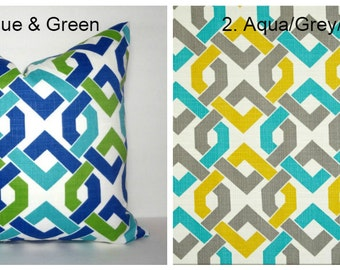 NEW OUTDOOR Green Blue & Gold Aqua Grey Geometric Pillow Cover Patio Porch Decor Size 18x18