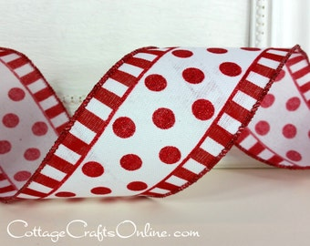"Wired Ribbon, 2 1/2"" wide, Red Glitter Polka Dots and Stripes  - TEN YARD ROLL -  ""Dots in a Line"" Christmas, Valentine Wire Edged Ribbon"