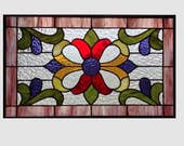 Victorian Stained glass panel window hanging purple red stained glass window panel stained glass  flower 0217 19 x 11 1/2