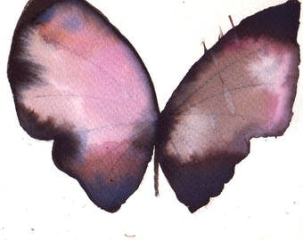 pale purple and black butterfly original watercolour painting