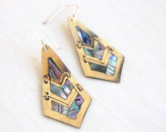 Mexican Dangle Earrings Abalone Alpaca Chevron Dangles Vintage Reticulated Modern Jewelry Under 25
