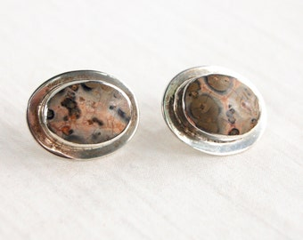 Mexican Jasper Earrings Vintage Post Studs Sterling Oval Posts Desert Hues Everyday Earrings Made in Mexico