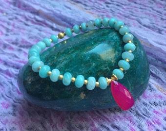 AMAZONITE + pink chrysoprase mala bracelet