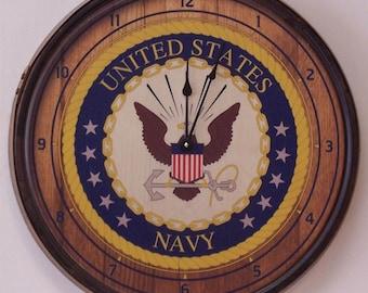 Navy Wall Clock-FREE SHIPPING