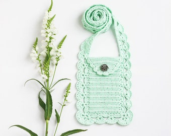 Mint crossbody phone purse Boho chic Cell phone pouch Smartphone bag Wallet Case Cover Crochet lace Gift for mom, grandma Spring Summer