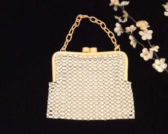 Vintage White Beaded Mesh Evening Bag with Celluloid Frame and Strap, Vintage Purse, Vintage Whiting Davis Handbag, Vintage Fifties Purse