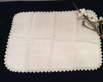 Vintage Small Linen Dresser Scarf Edged in Crochet Work