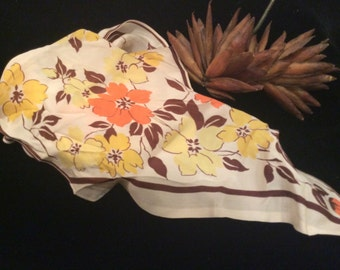 Vintage Cream  with Yellow Brown and Orange Flowers Rayon Long Scarf