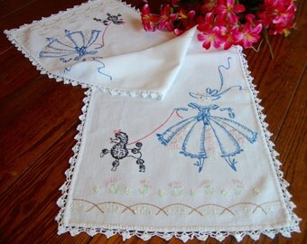 Dresser Scarf Embroidered Southern Belle with Black French Poodle Vintage Table Runner
