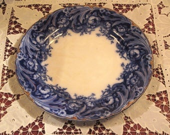 Antique Flow Blue Plate By J & C Meakin