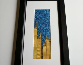 """Original Framed Ink and Marker Drawing """"Already Won"""" Cityscape Blue and Yellow"""