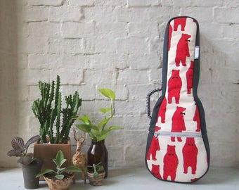Concert ukulele case - Japanese Cotton 'Red Bear' Ukulele Case (Ready to ship)