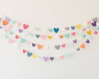 Multicolored Heart Garland,   Paper Heart Garland, Heart Garland, Photo Prop, Party Garland, Party Supplies, Paper Decoration