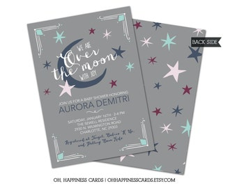 Over the Moon Baby Shower Invitation // Joy, Stars, Moon, Digital or Printed (FREE SHIPPING!)