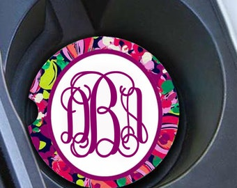 Monogram Car Coaster Set, Personalized Car Coaster, Lilly Pulitzer Inspired Wild, Cup Holder Coasters